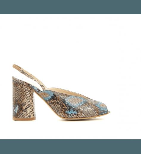 Sandales à talon en cuir estampillé python Neta - Lenora