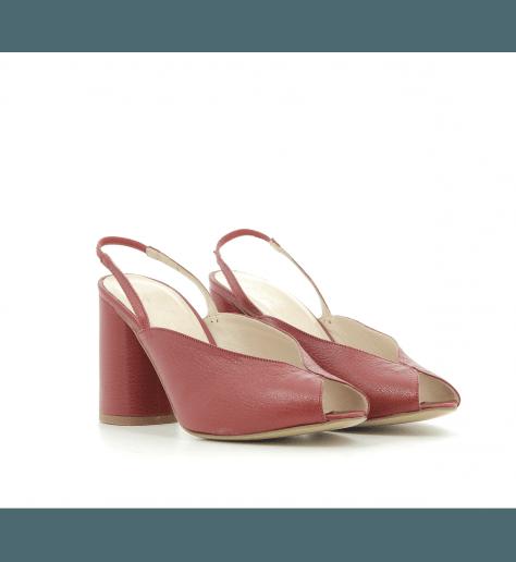 Sandales à talon en cuir rouge Neta1 - Lenora