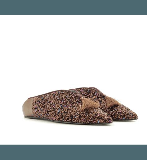 Mules en cuir bronze D0091BR - Paola D'Arcano