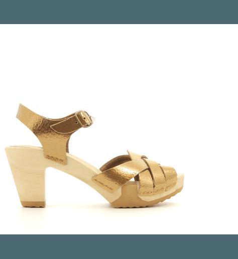 Sandales ou sabots à talons et semelles bois bronze 369B- Bosabo
