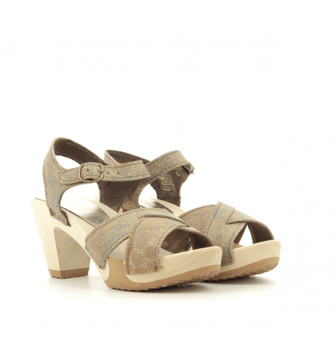 Sandales ou sabots à talons et semelles bois bronze 341BR- Bosabo
