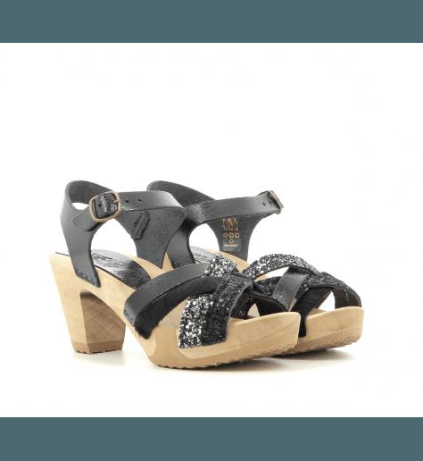 Sandales à talons et semelles bois noir et glitter 236MNO - Bosabo