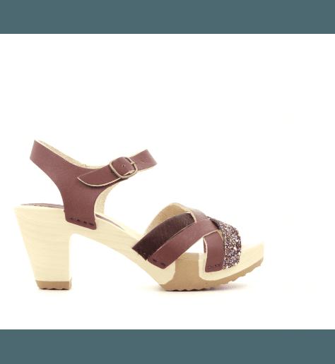 Sandales à talons et semelles bois bordeaux et glitter 236MBO- Bosabo