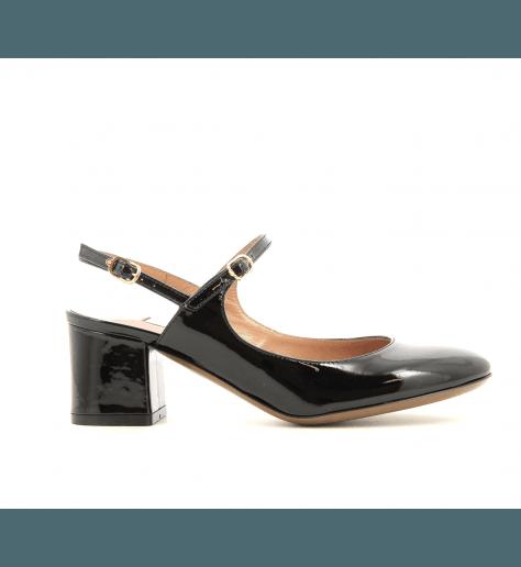 Escarpins à talons en cuir vernis noir LDE003N - L'Autre Chose