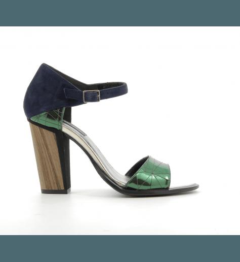 Sandales à talons en cuir bleu et vert - Thiron