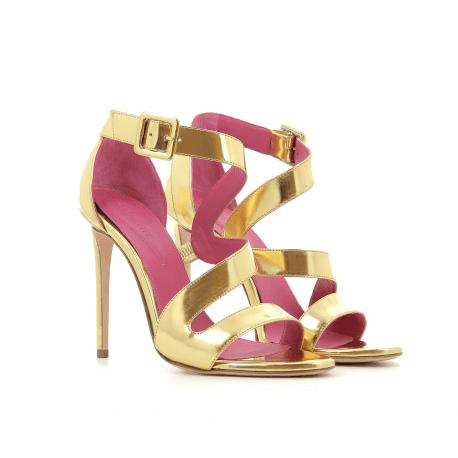 Sandales à talons hauts en cuir doré FARAH2- Oscar Tiye