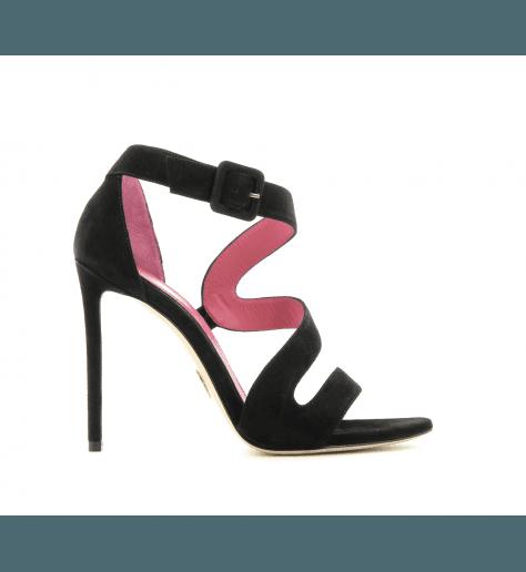 Sandales à talons hauts en velour noir FARAH1- Oscar Tiye