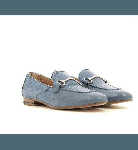 Mocassins  en cuir bleu D003 - Henderson