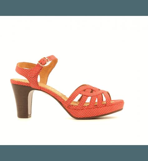 Sandales à talons en velour corail INGA-C- Chie Mihara