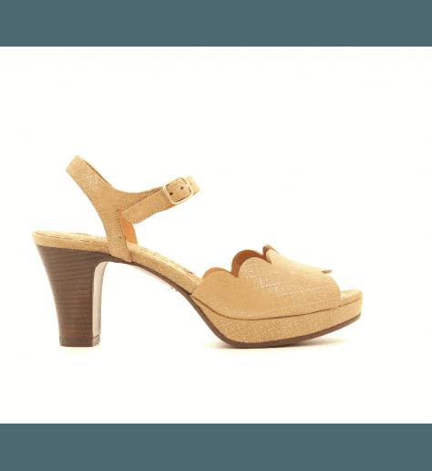 Sandales à talons en velour taupe UNDIA30- Chie Mihara