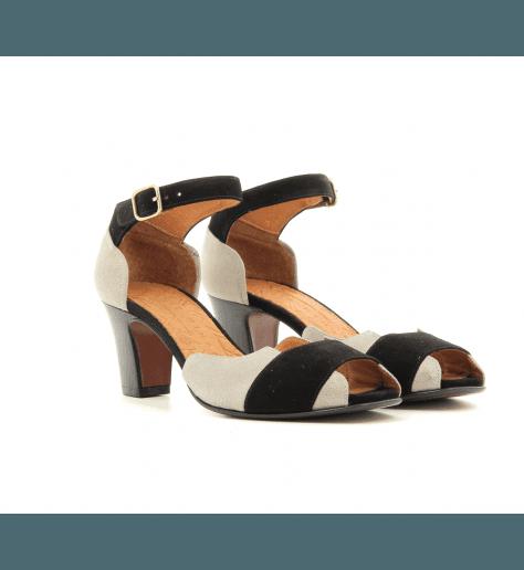 Sandales à talons en cuir noir et platine HOT- Chie Mihara