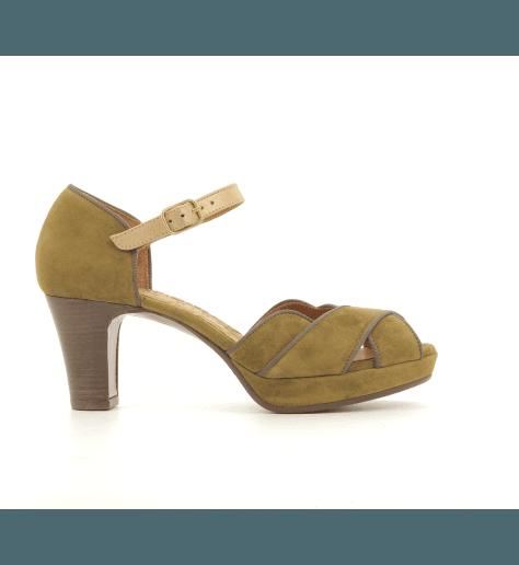 Sandales à talons avec plateformes kaki ISY-C2- Chie Mihara