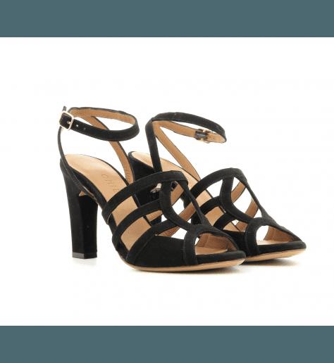 Sandales à talons en velour noir SAPHIRA- Chie Mihara