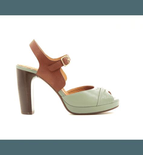 Sandales à talons en cuir vert et camel CHEGO - Chie Mihara