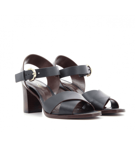 Sandales à talons bleues marine COQUILLE - Avril Gau