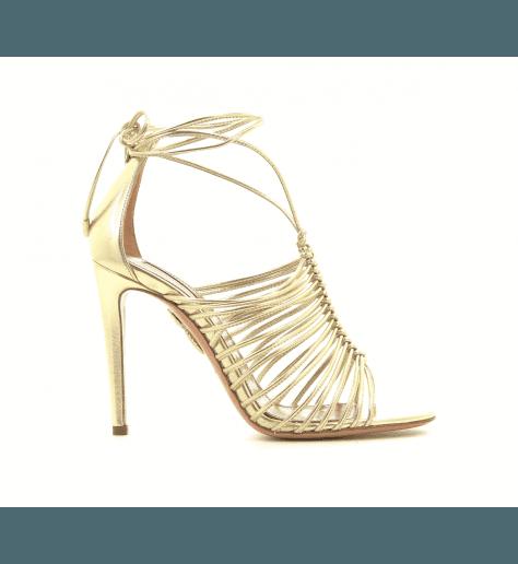 Sandales multi-brides en cuir doré NADJA SANDAL105 - Aquazzura