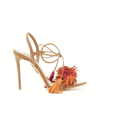 Sandales à talons en cuir tan et franges WILD THING105 - Aquazzura