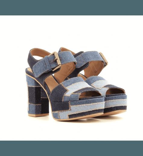 Sandales à plateforme Patchwork denim SB28185- See By Chloé