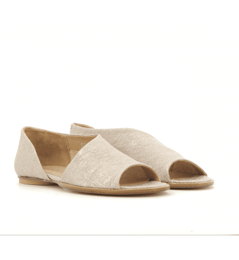 Sandales plates en cuir rose 1234RO - Garrice Collection