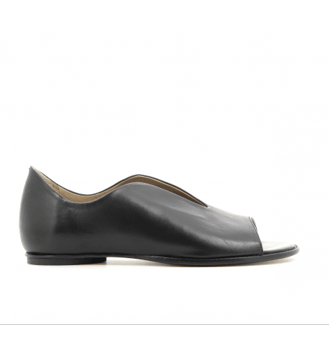Sandales plates en cuir noir 1515N - Garrice Collection