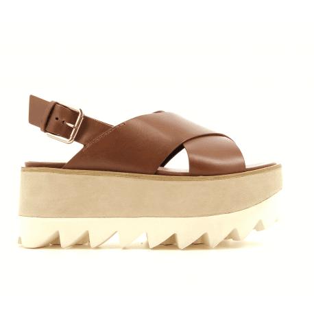 Sandales à plateformes en cuir camel M4349 - Premiata