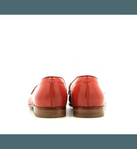 Mocassins plats en cuir rouge corail E17304R - Raparo