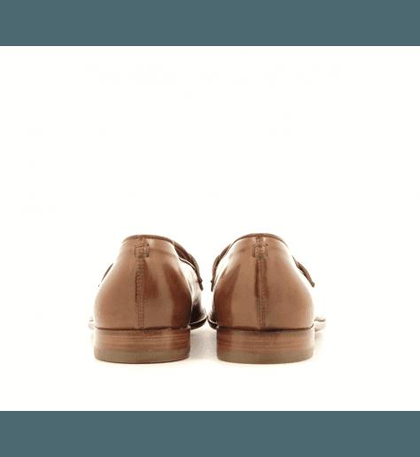 Mocassins plats en cuir cognac E17304 - Raparo
