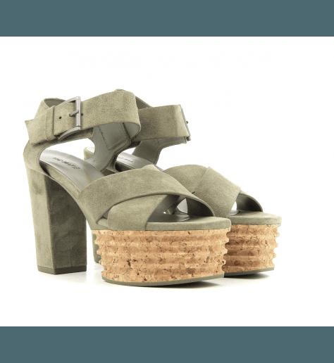 Sandales en velour khaki 5452DK  - Vic Matie