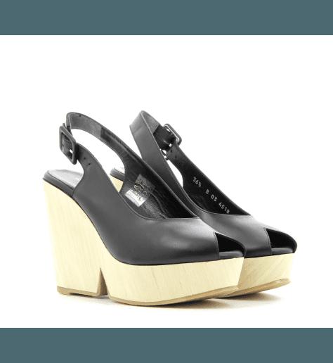 Sandales compensées en cuir noir DYWOOD - Robert Clergerie