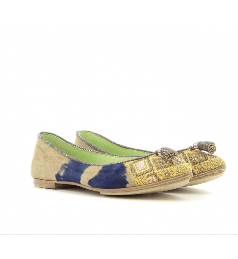 Ballerines  pointues en suede tie and die AMAYA POINT - Meher Kakalia