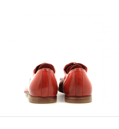 Derbies  plats en cuir rouge corail E17330- Raparo