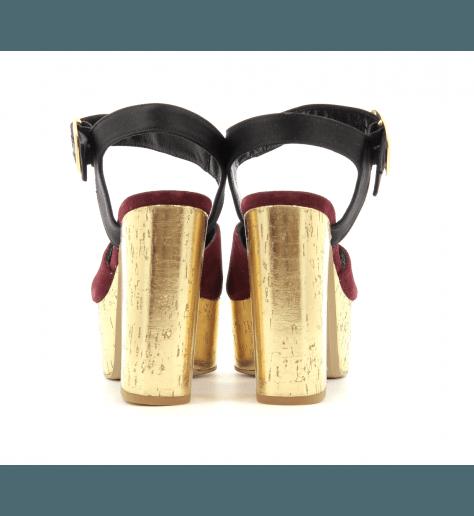 Sandales à talons plateformes bordeau PE4858 Garrice Collection