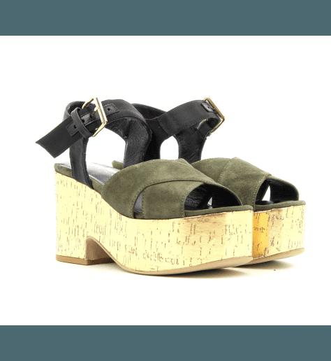 Sandales à talons plateformes kaki PE4813T -  Garrice Collection