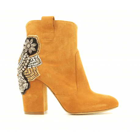 Bottines en suede moutarde E3307- Garrice Collection