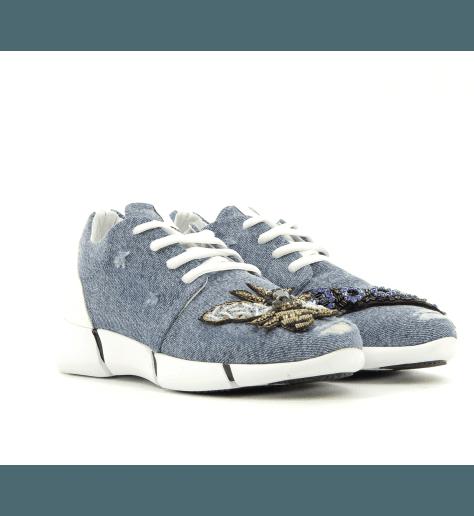 Sneakers en toile jeans vieilli E987 - ELENA IACHI