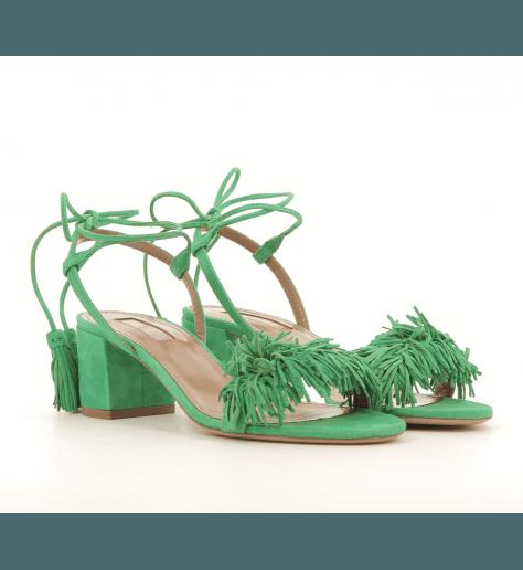 Sandales à talons en suede vert WILD THING50 - Aquazzura