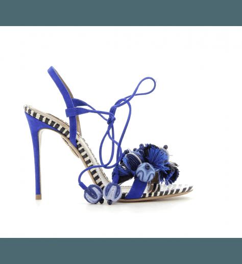 Sandales à talons en velours bleu TROPICANA SANDAL 105 - Aquazzura