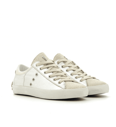 Sneakers en cuir argent et platine 25004- Crime London