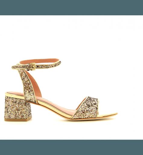 Sandales à talons en Glitter OPIUM GOLD - Ash