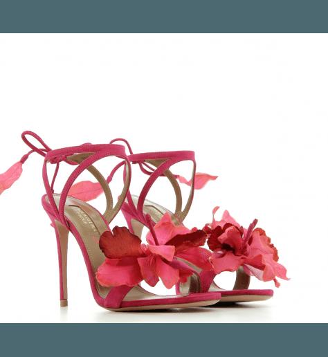 Sandales à talons en velours rose FLORA SANDAL 105 - Aquazzura