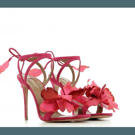 Sandales à talons en velours fuscia FLORA SANDAL 105 - Aquazzura