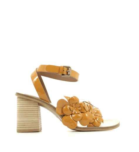 Sandales en cuir verni moutarde SB28202M - See By Chloé