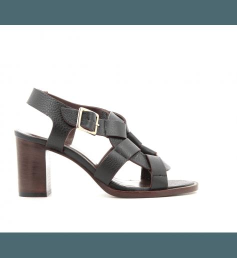 Sandales en cuir noir CACID NOIR - Avril Gau