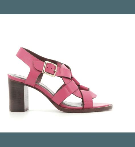 Sandales en cuir rose CACID - Avril Gau