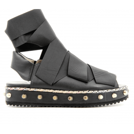 Sandales plateforme en cuir noir D608146N -  AGL