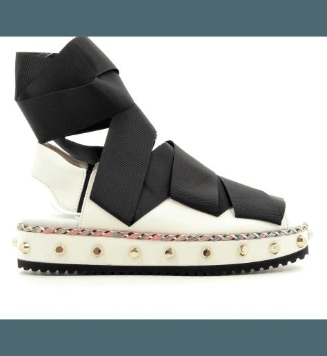 Sandales plateforme en cuir blanc D608146B- AGL