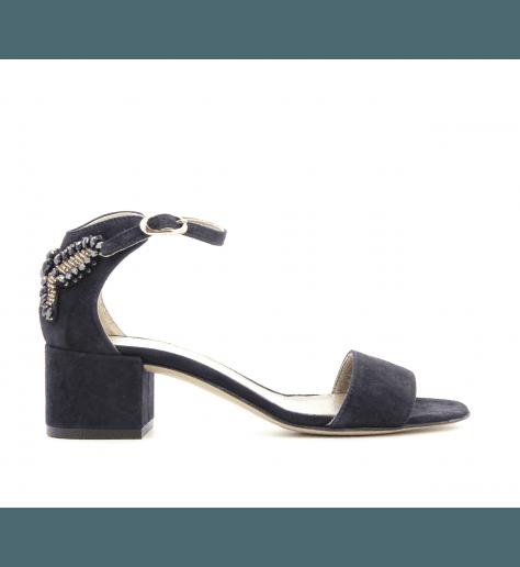 Sandales à talons en velours bleu D631014bl- AGL