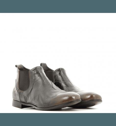 Bottines plates en cuir vieilli  marron 3881- Silvano Sassetti