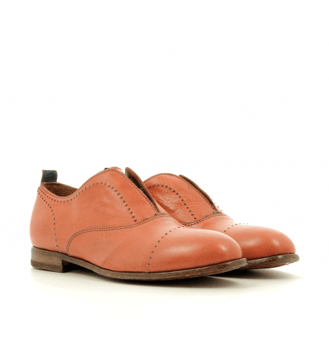 Derbies à enfiler cuir rose 41705- Moma
