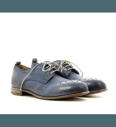 Derbies à lacets cuir bleu 41701B- Moma
